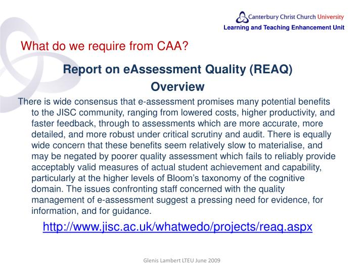 What do we require from CAA?