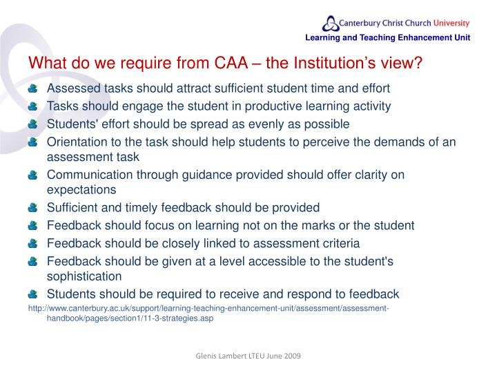 What do we require from CAA – the Institution's view?