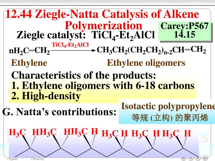 12.44 Ziegle-Natta Catalysis of Alkene