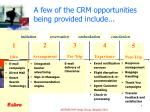 a few of the crm opportunities being provided include