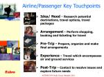 airline passenger key touchpoints