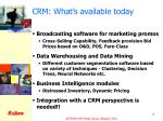 crm what s available today