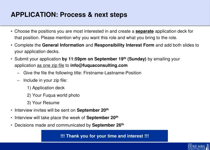 APPLICATION: Process & next steps