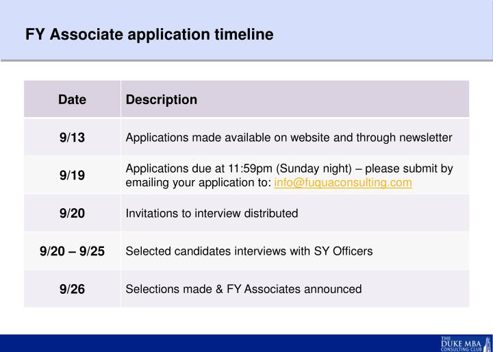 FY Associate application timeline