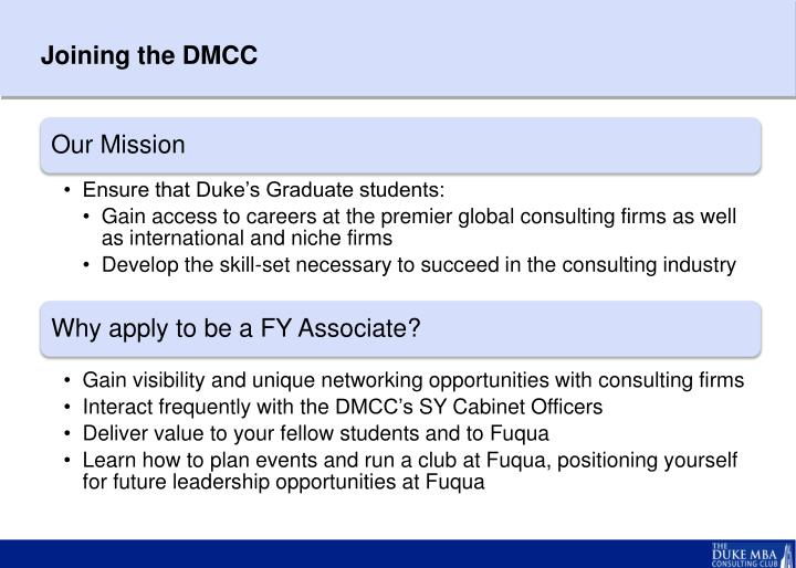 Joining the dmcc