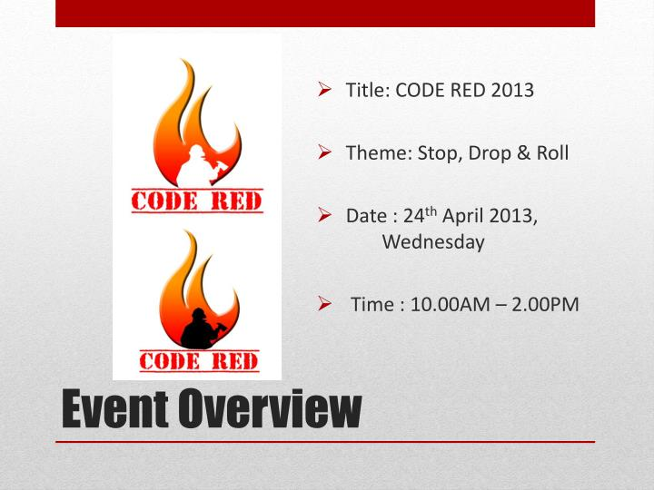 Title: CODE RED 2013