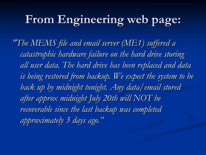 From Engineering web page:
