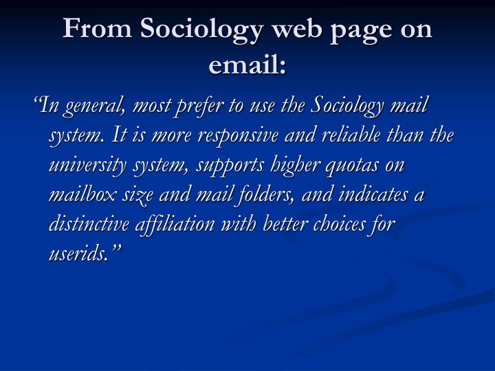 From Sociology web page on email:
