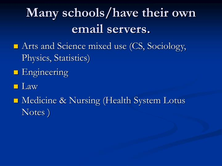 Many schools/have their own email servers.