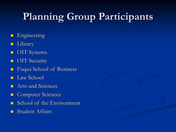 Planning Group Participants