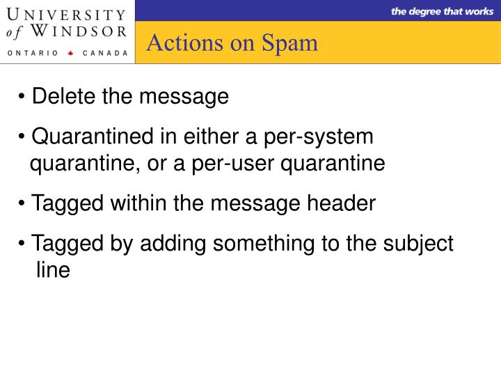 Actions on Spam