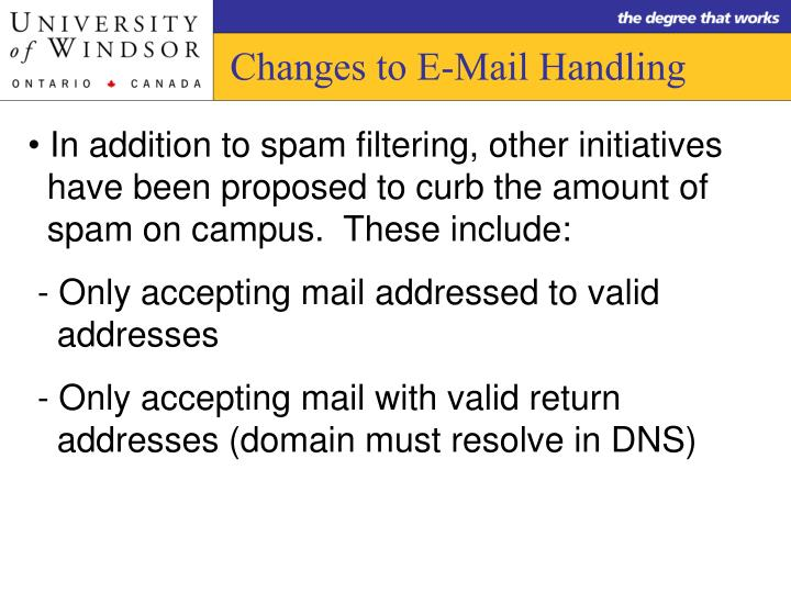 Changes to E-Mail Handling