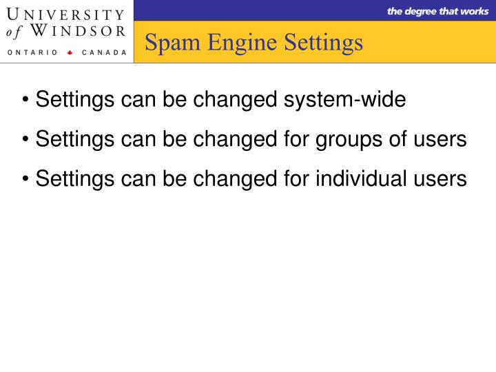 Spam Engine Settings