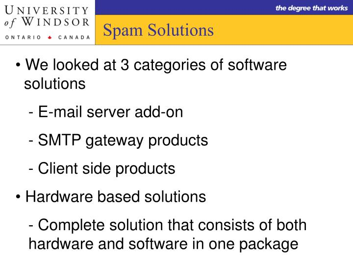 Spam Solutions