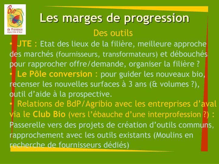 Les marges de progression