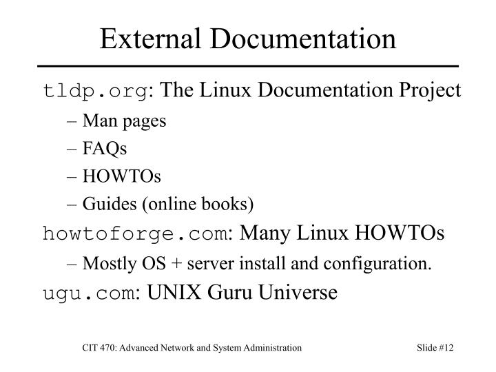 External Documentation