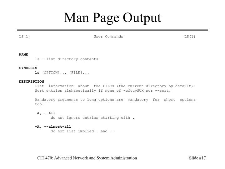 Man Page Output