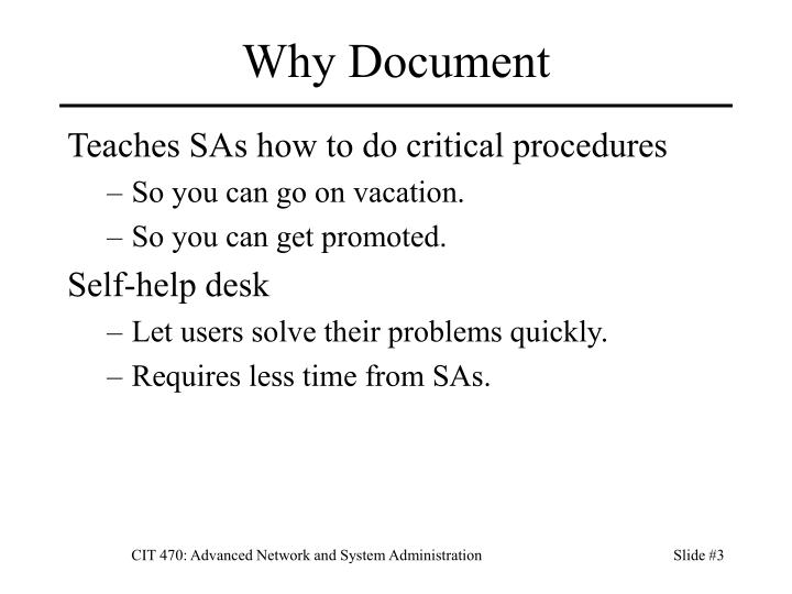 Why document