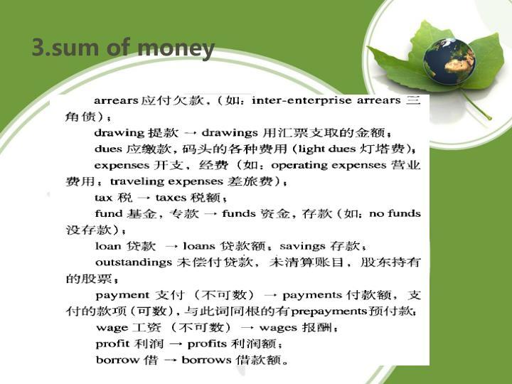 3.sum of money