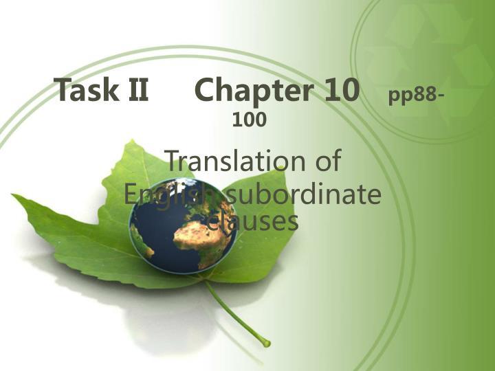 Task II     Chapter 10