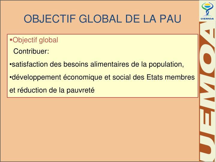 OBJECTIF GLOBAL DE LA PAU