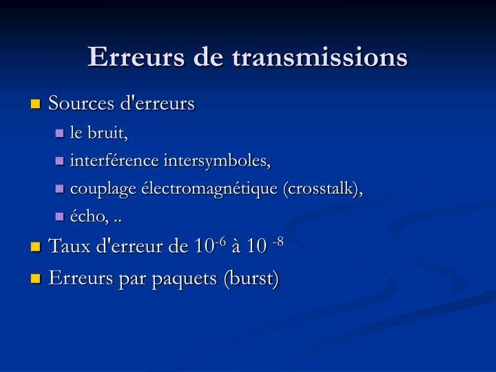 Erreurs de transmissions