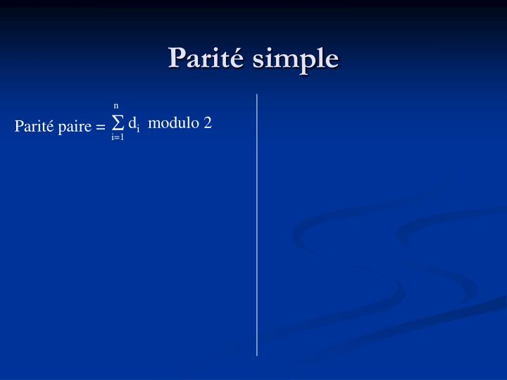Parité simple