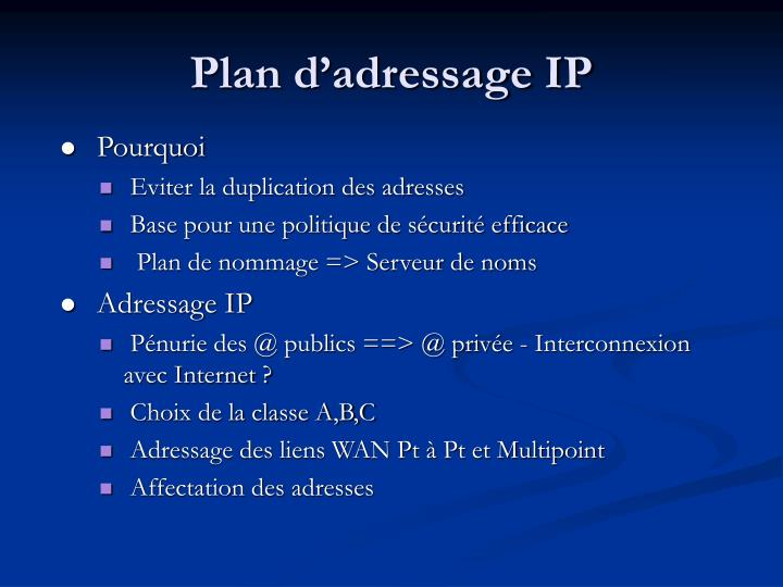 Plan d'adressage IP