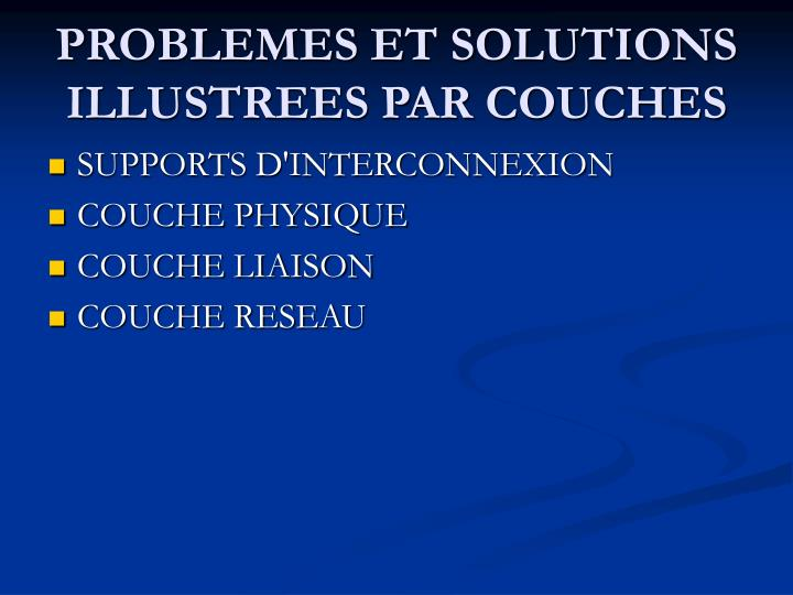 PROBLEMES ET SOLUTIONS ILLUSTREES PAR COUCHES