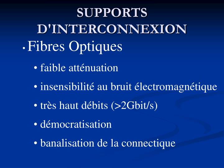 SUPPORTS D'INTERCONNEXION