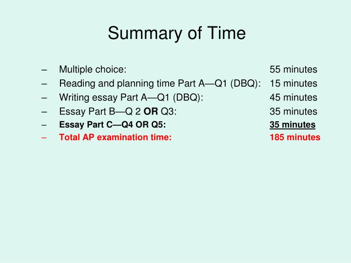 Summary of Time