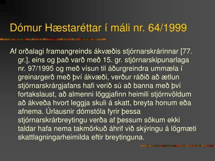 Dómur Hæstaréttar í máli nr. 64/1999