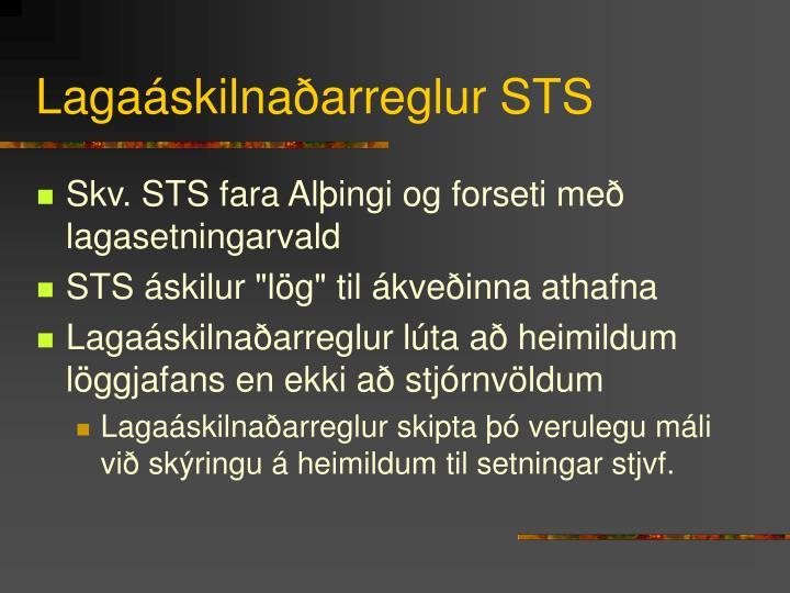 Lagaáskilnaðarreglur STS