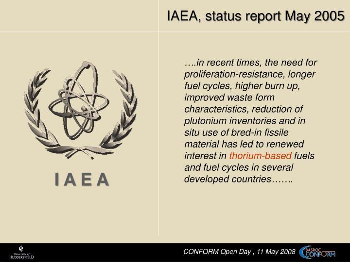 IAEA, status report May 2005