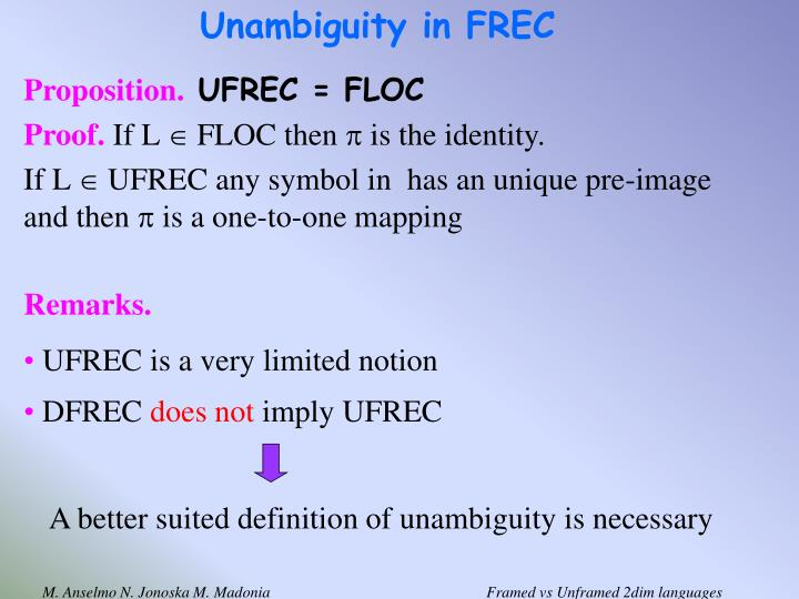 Unambiguity in FREC