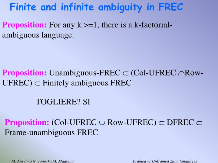 Finite and infinite ambiguity in FREC