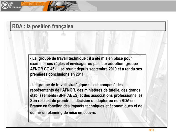 RDA : la position française