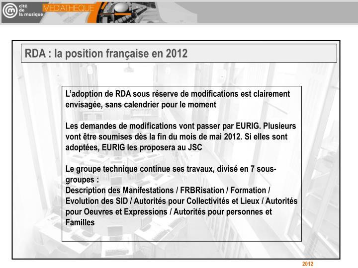 RDA : la position française en 2012