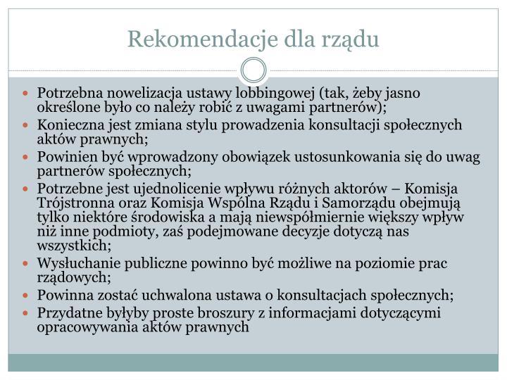 Rekomendacje dla rządu