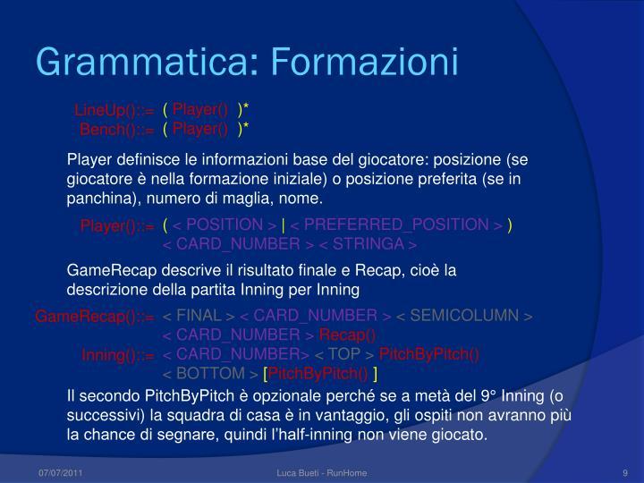 Grammatica: Formazioni