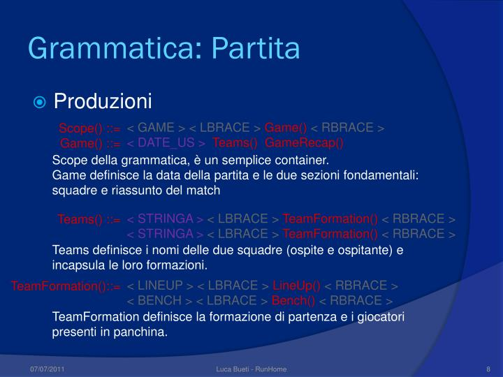 Grammatica: Partita