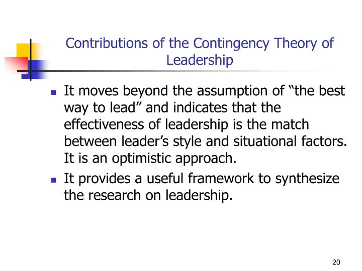 Contributions of the Contingency Theory of Leadership