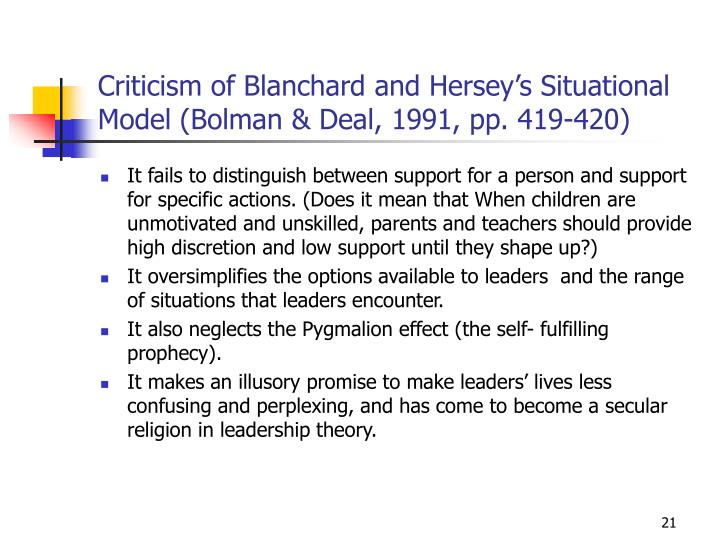 Criticism of Blanchard and Hersey's Situational Model (Bolman & Deal, 1991, pp. 419-420)