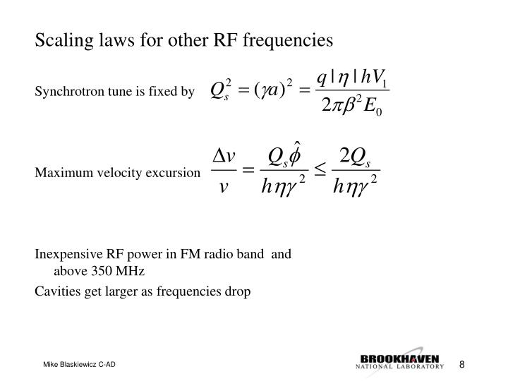 Scaling laws for other RF frequencies