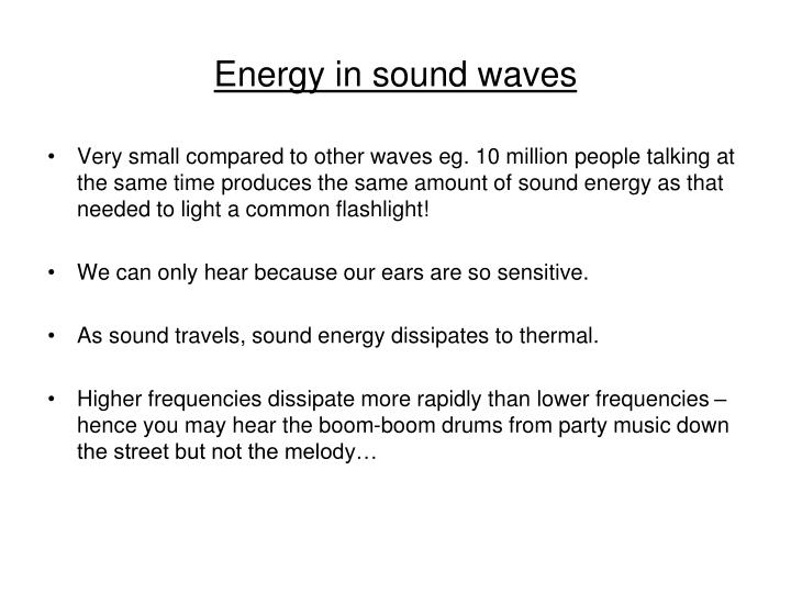 Energy in sound waves