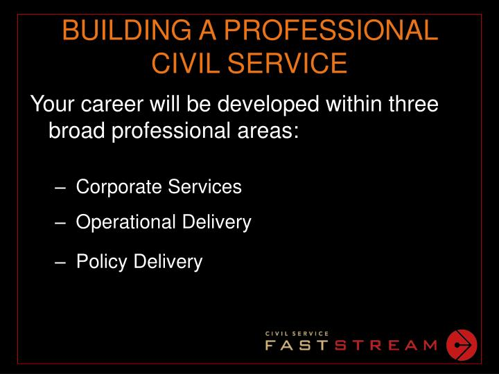 BUILDING A PROFESSIONAL CIVIL SERVICE