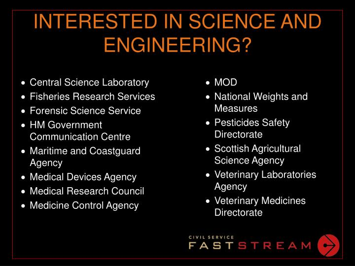 INTERESTED IN SCIENCE AND ENGINEERING?