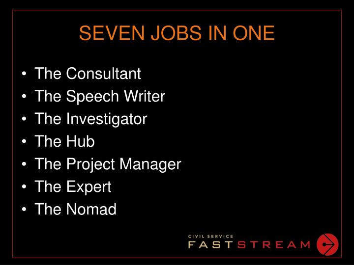 SEVEN JOBS IN ONE