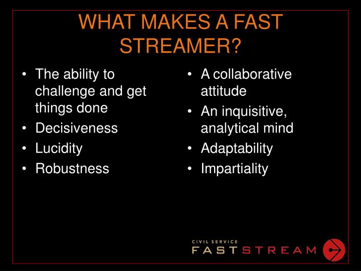 WHAT MAKES A FAST STREAMER?