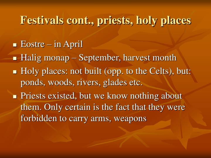 Festivals cont., priests, holy places